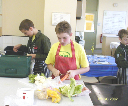 District Chef Cooking Competition 2002 - Starting to prepare the Vegtables, while waiting for the Mince to arrive